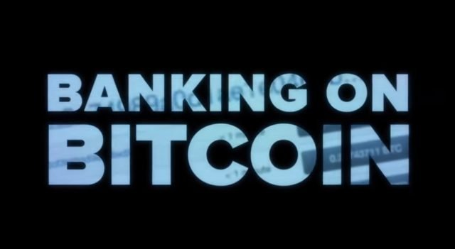 2017 documentary screenshot of title screen banking on bitcoin