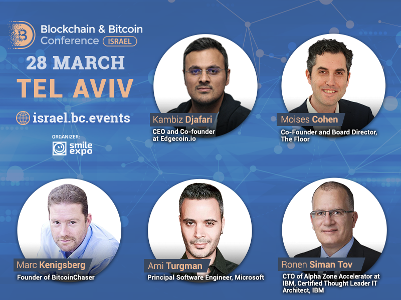 The first speakers and key topics of Blockchain & Bitcoin Conference Israel